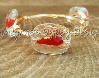 Red Kentucky Wire Wrapped Bangle, Bracelet, Western Kentucky University, University of Louisville, Bourbon and Boweties Inspired