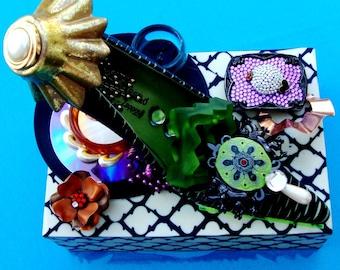 SHOE Art Assemblage & Box Paloma Barcelo Shoe Votive Tabletop 3D Functional Art For Storage Vintage Purple Buckle, Copper Flower Black White