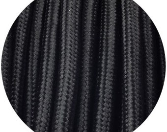 Fabric Textile cable wire for Lighting Round 2x0.75 in Black