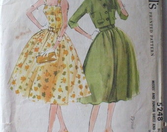 Vintage 50's Full Skirted Sun Dress and Short Jacket Sewing Pattern - McCall's 5248 - Size 16, Bust 36