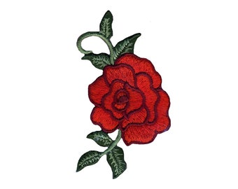 Red Rose Iron On Applique, Floral Iron On Patch, Rose Patch, Flower Applique, Flower Patch, Kids Patch, Embroidered Patch