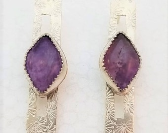 Sterling silver bar post earrings with marquis amethyst cabochons