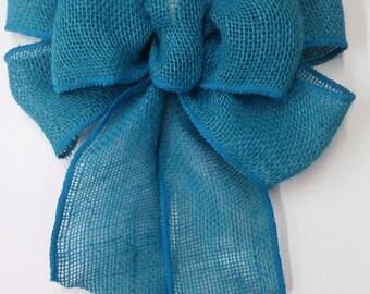 Turquoise Burlap Bow