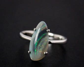 Natural Australian Opal Ring - Free Form - October Birthstone