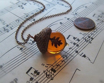 Glass Acorn Necklace in Topaz with Encased Copper Oak Leaf by Bullseyebeads