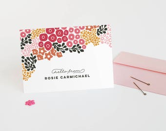 Personalized Stationery, Set of 12 Floral Folded Note Cards // BLOOMING CLUSTERS