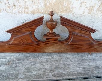 Vintage Antique 1900  French oak /Mahogany ? wood pediment crest Mount Ornate Wood
