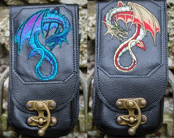 Ragnor Mobile Phone Pouch (Leather, Phone Pouch, Dragon, Embroidered,Belt Pouch, Festival clothing, Larp, Gifts for Him, Gifts for Her)