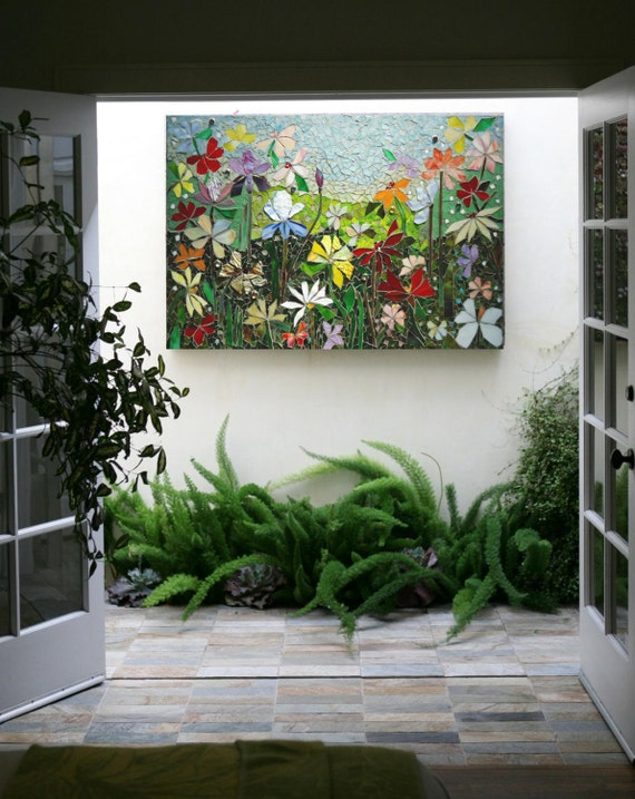 mosaic wall art stained glass wall decor floral garden indoor. Black Bedroom Furniture Sets. Home Design Ideas