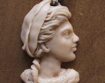 Washerwoman girl profile - Motacillia Alba Cameo Pendant cameo necklace pendant