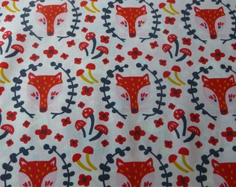 1/2 Yard Organic Cotton Fabric - Birch Fabrics Folkland - Foxy in Cream