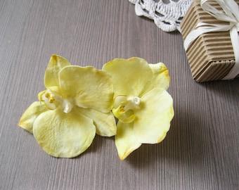 Yellow wedding hair accessory Beach wedding hair piece Orchid wedding Orchid hair pin Orchid hair piece Hawaiian hair flower girl gift
