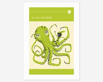 O is for OCTOPUS (Giclée Fine Art Print/Photo Print/Poster Print) by Jazzberry Blue