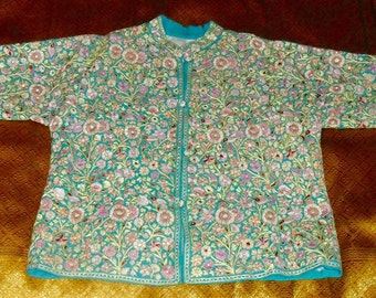 Vintage Kashmir Hand Embroidered Nehru Jacket Full of Flowers and Birds