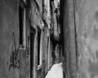 Graffiti, Venice, Italy Signed Black and White Fine Art Print / Architecture Photography / Venice Street Photo