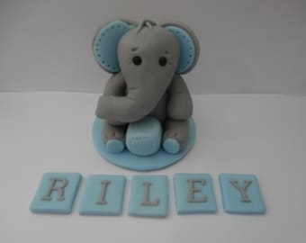 Edible sugar paste Elephant and name,Blue,Pink, cake topper,christening,birthday,boy, girl,baby