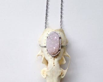 Real Mink Animal Skull Necklace With Gemstone Handmade Taxidermy Oddities