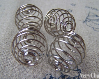 10 pcs of Silvery Gray Nickel Tone Spiral Wire Metal Spring Findings 20x21mm A3499