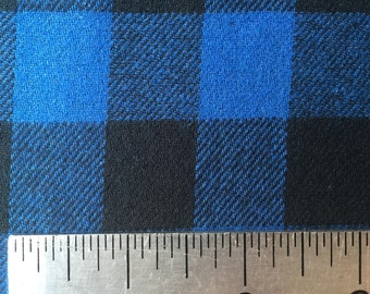 Buffalo Check - Blue and Black - 3/4 Inch - Plaid Woven Cotton Flannel Fabric - One Yard