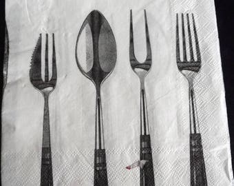 Napkin cutlery fork and knife