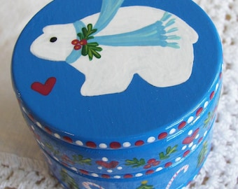 Hand Painted Love Boxes Christmas Blue Polar Bear Box Wood