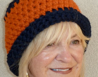 Orange and blue team hat, women's winter hat, unique crochet hat, original Auburn University team hat, women's winter hat