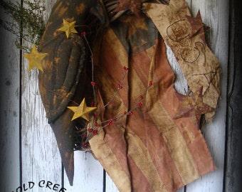 Primitive Americana Flag Wreath With Crow