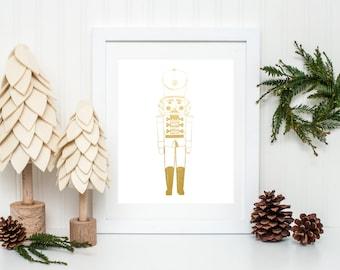Gold Foil Nutcracker Christmas Print (8x10 or 5x7)