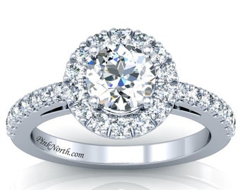 Halo Engagement Rings - 14k White Gold Engagement Ring- 1.63ctw Forever One Moissanite and Diamonds!
