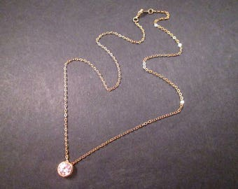 Cubic Zirconia Necklace, White Crystal Slide Pendant, Gold Chain Necklace, FREE Shipping U.S.