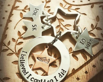 Hand stamped motivational keyring for runners running keep fit reward
