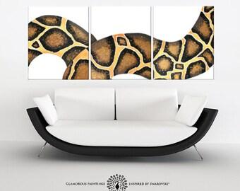 Snake wall art TEMPTATION - Swarovski® crystals snake painting triptych - gift for him - snake art - serpent painting - golden art