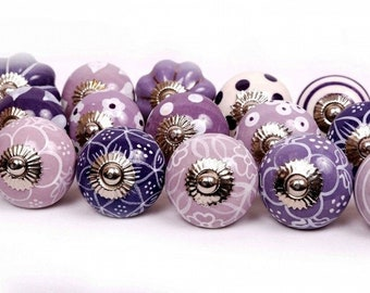 Set of 10 10 Knobs Purple & White Hand Painted Ceramic Knobs Cabinet Drawer Pull ----- USA SELLER Fast Shipping