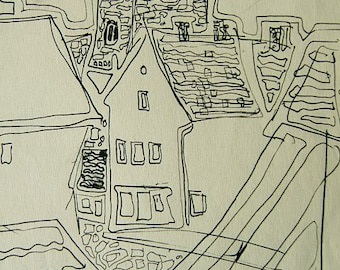 "Swedish Land; Ink Line Drawing, unknown location, ca. 1970's, may be in Sweden, ""Visty"" area, ORIGINAL drawing."