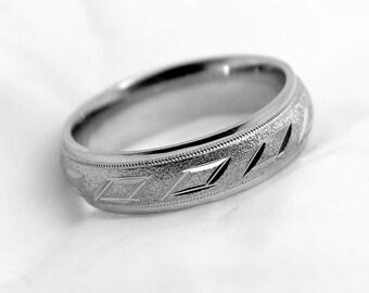 6mm 925 Sterling Silver Filigree Wedding Band, 925 Sterling Silver Rhomb Ring, Men's Wedding Band, 925 Sterling silver wedding band, 6082