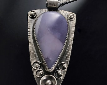 Blue Lace Agate Pendant, Sterling Silver Agate Artisan Necklace, Soothing Blue Jewelry, Agate Stone Jewelry