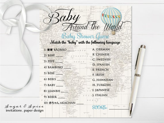Hot Air Balloon Baby Shower Game Printable Baby Around The