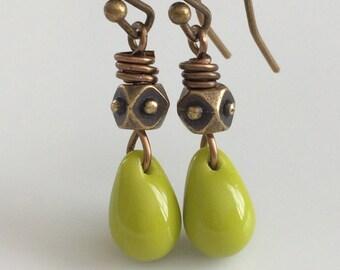 Green Glass Earrings  Bohemian Earrings  Short Dangle Earrings  Boho Earrings Glass Teardrops   Gypsy Dangles