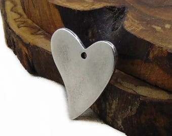 Antique Silver Heart Pendant, 1pc Heart Pendant, Metal Pendant, DIY Pendant, Jewelry Supply