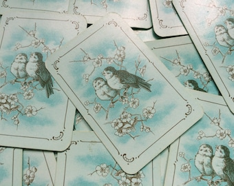 Set of 10 vintage Playing Cards Swap Two Birds on Branch Flowers in Blue Love KG01