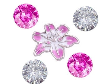 Pink Flower Floating Charm