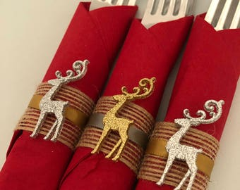 Holiday Flatware with Christmas Napkin Ring, Glitter Reindeer Napkin Ring, Disposable Christmas Flatware, Holiday Party Tableware