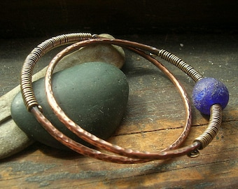Copper Bangle Duo with Cobalt Blue Glass bead and brass wire wrapping detail,average size