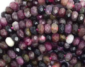 """5mm natural faceted watermelon tourmaline rondelle beads 15.5"""" strand S1 36591"""