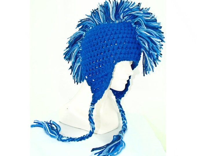 Blue Mohawk Ear Flap Hat Adult Size