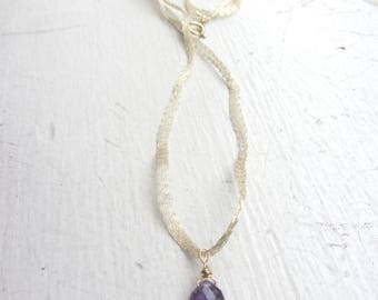 Amethyst Gold Necklace, Amethyst Birthstone, Gold Ribbon Choker, Gold Choker, Amethyst necklace, February Birth