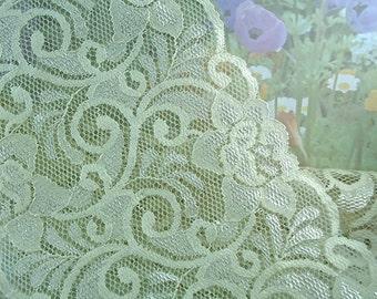 1yd Stretch Lace Ivory 5 3/4 inch Wide Fabric Lace Stretch Trim Elastic Lace diy wedding accessories Headbands Elastic Lace by the yard