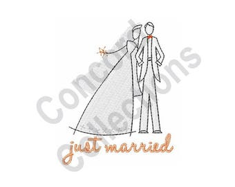 Wedding Bride & Groom - Machine Embroidery Design, Just Married