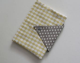 Flap health book and bookmark gray yellow bench, scales and polka dot graphic