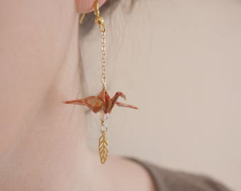 Origami birds Earrings - Orange & Opale